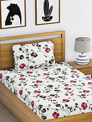 Ahmedabad Cotton Comfort 160 TC Cotton Single Bedsheet with 1 Pillow Cover - Multicolour