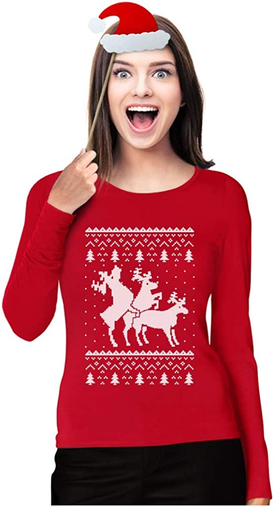 Ugly Christmas Party Sweater Humping Reindeer Funny Women Long Sleeve T-Shirt