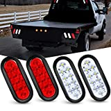 Nilight - TL-24 6 Inch Oval White LED Trailer Tail Lights with Flush Mount Grommets Plugs Reverse Back Up Trailer Lights for RV Truck , 4 White