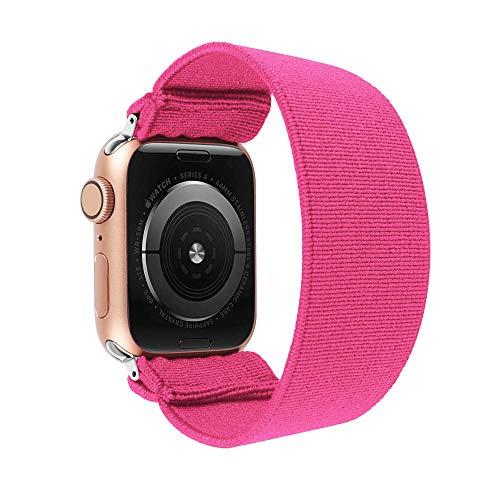 ToYOUTHS - Pulsera elástica de repuesto para Apple Watch, 38 mm, 40 mm, para hombres y mujeres, deportes, para iWatch Serie 5 4 3 2 1 (rojo rosa, tamaño grande)