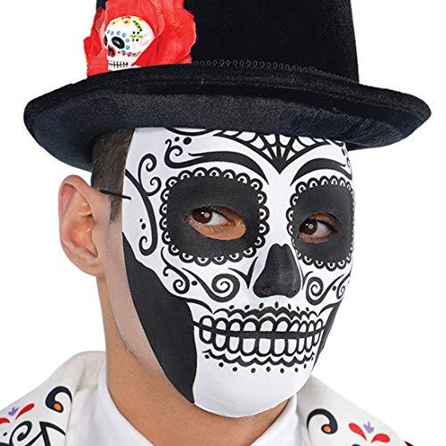 Amakando Extravagante La Catrina Maske für Männer / Weiß-Schwarz / Tag der Toten Gesichtsmaske / Wie geschaffen zu Gruselparty & Kostümfest