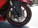 CaliBikerClub Red Reflective Wheel Rim Stripe Decal Tape for Motorcycle Wheels 17' or Car Wheels 16'-18'