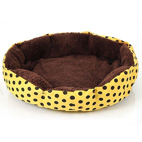 Ecloud Shop® De Petits Points octogonales chenil Velours Super Doux Teddy Fossa Chat Animal nid Jaune