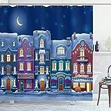 ABAKUHAUS Stadt Duschvorhang, Benachbarte Häuser Winter Night, Waserdichter Stoff mit 12 Haken Set Dekorativer Farbfest Bakterie Resistet, 175x200 cm, Mehrfarbig