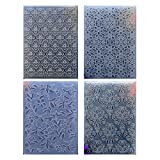 Kwan Crafts 4 pcs Different Style Flowers Plastic Embossing Folders for Card Making Scrapbooking and Other Paper Crafts