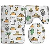 Aubrdon Thin Line Art México Patrón sin Costuras Alfombra de baño Alfombra de baño Alfombrillas Set 3 Piezas