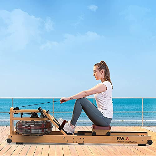 SNODE Foldable Wood Water Rowing Machine with APP, Rowing Machine Water Resistance for Home Use with LCD Monitor, Water Resistance Wood Indoor Rower, Soft Seat, Home Fitness Workout (Yellow) (Yellow)