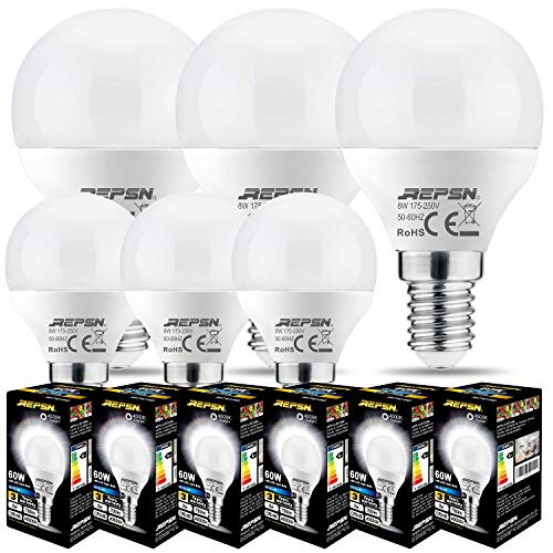 REPSN - Lampadina a LED a sfera P45, con attacco Edison a vite E14 piccolo, 8 W (equivalente a 60 W), non dimmerabile, confezione da 6 4000 K ~ 4500 K bianco naturale.