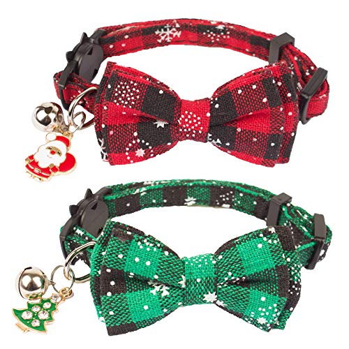 ADOGGYGO Christmas Cat Collar Breakaway with Cute Bow Tie Bell - 2 Pack Kitten Collar Red Green Plaid Pattern Xmas Kitten Collar with Removable Bowtie Cat Bow tie Collar for Kitten Cat (Style 1)