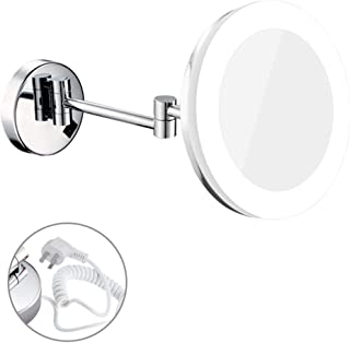 LED with Wall-Mounted Single-Sided Make-up Mirror Bathroom Folding Telescopic Beauty Mirror 3 Times Magnifying Glass HD 360 ° Rotating Makeup Mirror Stainless Steel