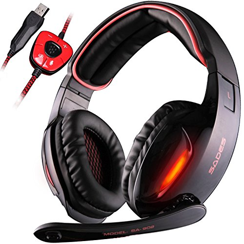 SADES SA 902 7.1 de sonido envolvente estéreo Pro USB PC Gaming Auriculares Cinta de cabeza de los auriculares con micrófono Deep Bass Over-the-Ear Control de volumen de las luces LED para jugadores de PC (Negro)