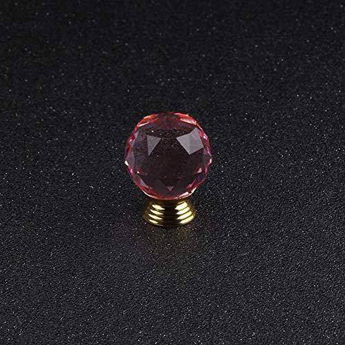 Bureze 30 mm rosa kristall glas boll legering bas handtag möbler tillbehör hårdvara låda skåp garderob dörrknopp 5 st till salu