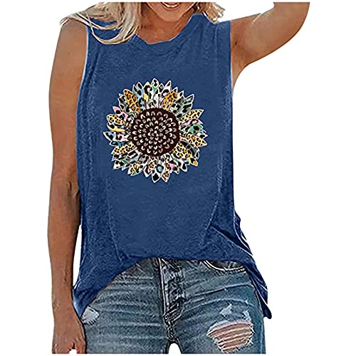 Summer Tank Tops for Womens Trendy Loose Fit Sleeveless Tshirt Tops Casual Cute Sunflower Print Workout Blouses Tees