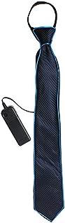Amasawa Leuchtende Krawatte,Party Leucht Krawatte mit LED Beleuchtung,Tanzperformance,Krawatte der kalten Hellen Männer DREI Blitzmodi,EL Nachtbar,Party decoratie voor Halloween.(Blau)