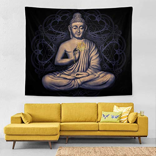 Wall Tapestry Seated Buddha in a Lotus Pose Livingroom Exclusive Decor Wall Hanging Art 60x51 Inches Horizontal Wall Backdrop Blankets For Bed Room Divider