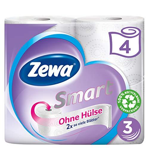 Zewa Smart 3-lagiges Toilettenpapier ohne Hülse, 4 Rollen (4 Rollen je 300 Blatt)