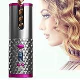Zagon - Rizador de pelo automático - inalámbrico - eléctrico - batería recargable con USB - pantalla LCD - temperatura ajustable - 6 modos de temporizador - con bolsa de viaje - kit de peinado (gris)