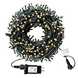 XTF2015 105ft 300 LED Christmas String Lights, End-to-End Plug 8 Modes Christmas Lights - UL Certified - Outdoor Indoor Fairy Lights Christmas Tree, Patio, Garden, Party, Wedding, Holiday (Warm White)