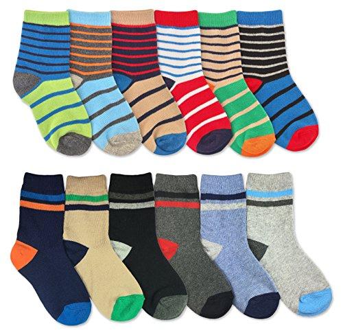 Jefferies Socks Boys Multicolored Stripe Fashion Variety Crew Socks 12 Pair Pack (S - USA Shoe 9-1 - Age 3-7 Years, Multi)