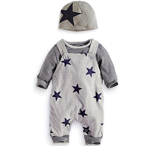 Dragon868 Conjuntos de Ropa, 3pcs bebé Rayas recién Nacidos Camiseta y Pantalones Babero Conjunto Sombreros (18M, Gris)
