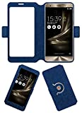 Acm SVIEW Window Designer Rotating Flip Flap Case Compatible with Asus Zenfone 3 Deluxe Zs570kl Mobile Smart View Cover Stand Blue