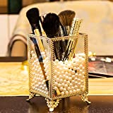 Dawoo Make -up Pinsel Holder Glas und Messing Vintage Make -up Pinsel Organizer Handmade Kosmetik...