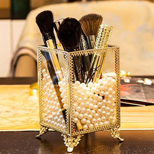 Dawoo Make -up Pinsel Holder Glas und Messing Vintage Make -up Pinsel Organizer Handmade Kosmetik Pinsel Lagerung mit weißen Perlen für Dresser Vanity Countertop