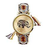 JSDDE - Orologio da polso da donna, con motivo a elefante, stile etenico, con cinturino in corda intrecciata, quadrante al quarzo, arancione e verde