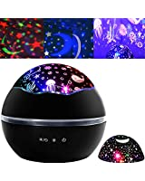 Night Light Projector Kids Star Night Light Ocean Projection Lights 8 Colors Changing Lamp 360 Degree Rotating Warm Sleeping Light for Kids Boys Girls Children Baby Bedroom Decoration Birthday Party