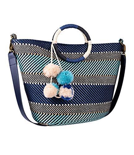 SIX Damen Handtasche, Strandtasche mit geflochtenen Mustern in blau, türkis und schwarz; Runde Henkel und kleine Bommel als Verzierung (726-776)