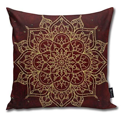 ewretery Deep Red Gold Mandala Cushion Covers Home Decorative Throw Pillowcases for Livingroom Sofa Bedroom Car 18X18inch