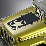 SkunkMonkey - Star Hood Decal Fits Jeep Wrangler TJ YJ JK - Army Star Oscar Mike Blackout Sticker - Matte Black