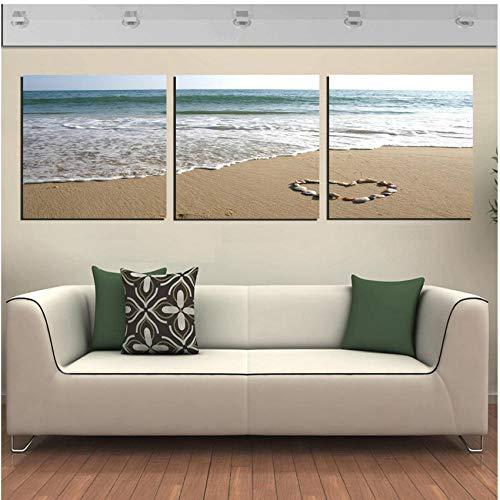 Trittico Quadri Art Canvas 3 Pezzi Ciottoli A Forma di Cuore sulla Spiaggia del Mare personalità...
