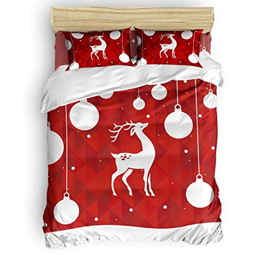 Beauty Decor Soft Duvet Cover with Zipper Closure Merry Christmas Theme 4-Piece Set Bedding Comforter Cover with Corner Ties and 2 Pillow Shams, Twin Size