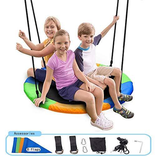 YWLGRX schotel boom schommels 500 lbs gewicht capaciteit 40 inch opknoping schommelband voor kinderen volwassenen verstelbare multi-Strand Touwen Swing Seat eenvoudig te installeren