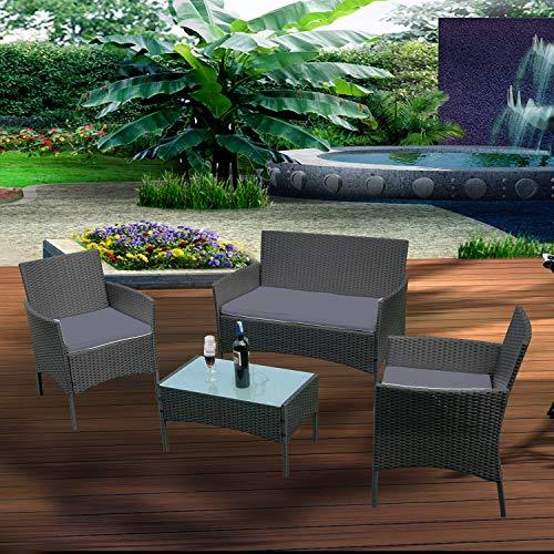 Ouhigher Balkonmöbel Gartenmöbel Set Poly Rattan Gartenmöbel Lounge Farbwahl mit 2-er Sofa, Singlestühle, Tisch, Anthrazit Sitzkissen - 5