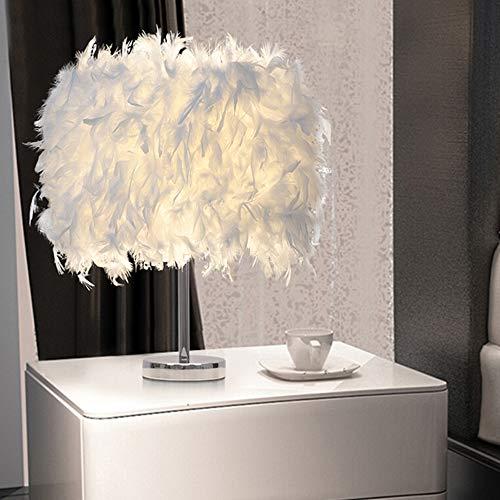 Feather Table Lamp Shade Vintage Elegant Bedside Desk Light White Lampshade Table Night Light Creative Home Decor for Bedroom Livingroom Reading Sitting Wedding Room Decorations
