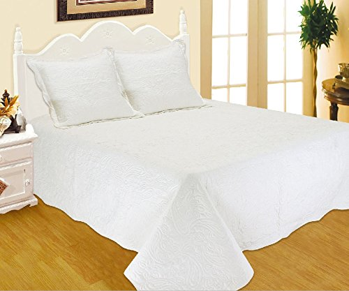 DVier Tagesdecke, Baumwoll-Mischgewebe, Weiß, 260 x 220 cm