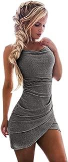 TWGONE Women's Bodycon Dressleeveless Sling Soild Sequin Slim Fit Everying Party Club Dress