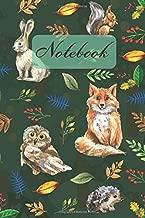 Notebook: Wild Animals - Owl Rabbit Fox Ssquirrel Hedgehog - Diary / Notes / Track / Log / Journal , Book Gifts For Women Men Kids Teens Girls Boys 6x9