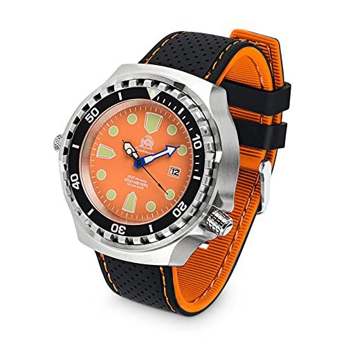 Tauchmeister Reloj de buceo profesional T0333SE XXL, 100 ATM, correa de silicona, 52 mm