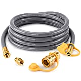 Kohree 1/2' ID Natural Gas Grill Hose 12FT with Quick Connect 3/8' Female x 1/2' Male Adapter Conversion Kit for Patio Heater,Generator,Griddle,Smoker,Fire Pit & More Outdoor NG/LP Propane Appliance