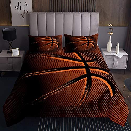 Jungen Basketball Steppdecke Sportthema Bettüberwurf 170x210cm für Kinder Teenager Chic Braun Ball Muster Tagesdecke Geschenk für Basketballspieler