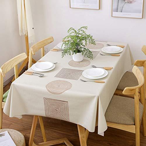 Qucover PVC Tischdecke Rechteckig 140x180cm, Plastik Tischtuch Wasserdicht Schmutzabweisend, Tischwäsch für Indoor & Outdoor/Küche/Garten, Beige, Elegant & Modern