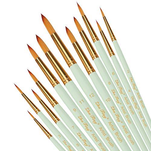 Pinsel teiliges Set,Nylon Pinsel, Nylonhaar Künstler Acrylpinsel für Acryl Aquarell Ölgemälde (braun) (minzgrün)