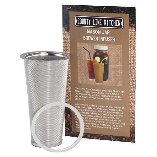 County Line Kitchen Stainless Steel Filter & Infuser for Cold Brew, Iced Coffee, and Iced Tea. Use with 1 Quart Wide Mouth Mason Jars