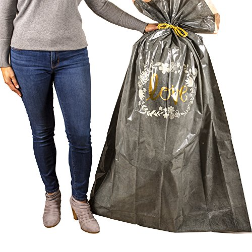 Hallmark 56' Large Plastic Gift Bag (Gold Love, White Flowers) for Engagement Parties, Bridal Showers, Weddings, Valentines Day and More