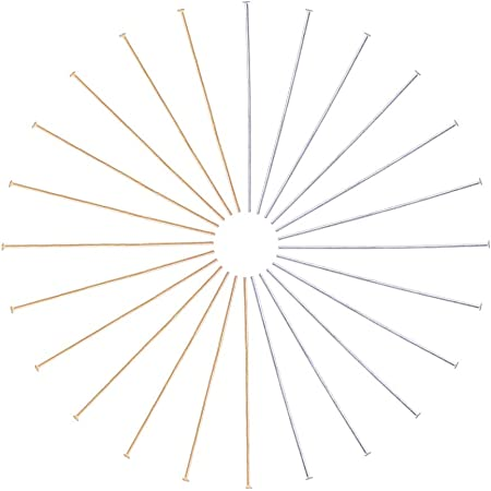 PandaHall 200pcs 2 Colori perni a Testa Piatta in Acciaio Inossidabile perni a Testa Piatta per la creazione di Gioielli per Orecchini (Colore Oro/Acciaio Inossidabile), Perno: 0,7 mm