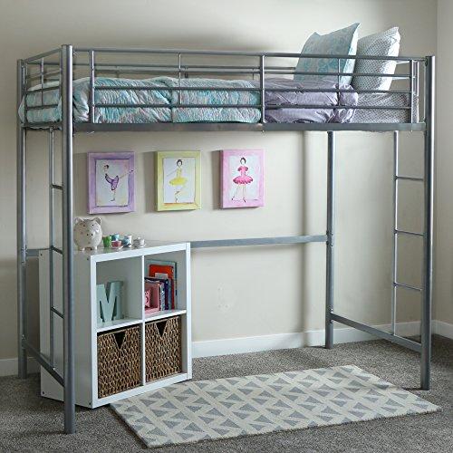 Walker Edison Orion Urban Industrial Metal Twin over Loft Bunk Bed, Twin Size, Silver