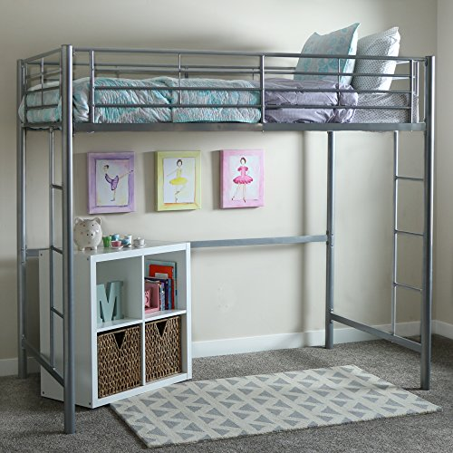 Walker Edison Modern Metal Pipe Twin Size Loft Bed Kids Bunk bed Bedroom Storage Guard Rail Ladder, Twin, Silver
